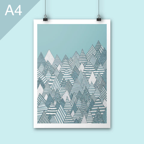 Winter scene illustration art print A4 poster nursery art
