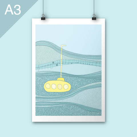 A3 Underwater submarine blue and yellow poster art print