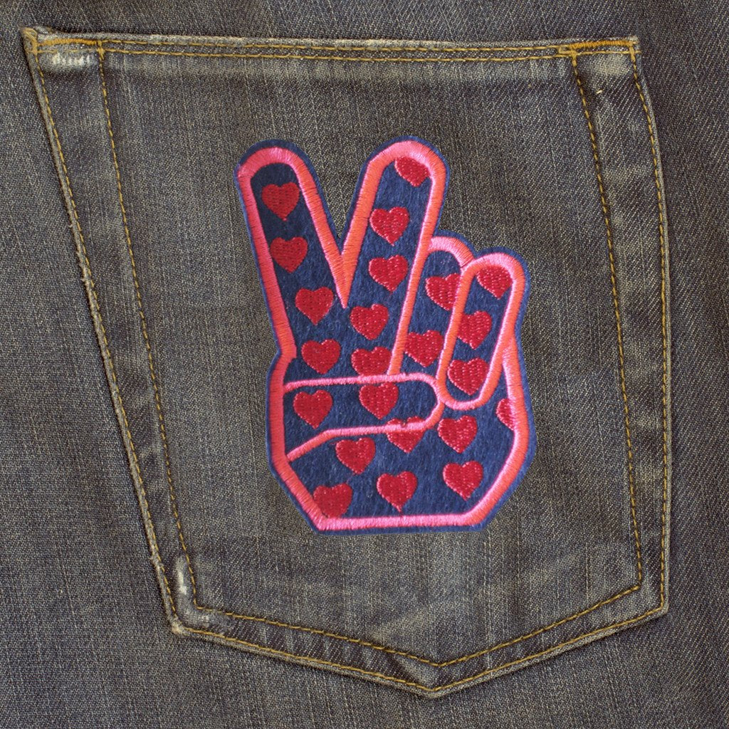 DANDY STAR PEACE HEARTS NEON EMBROIDERED PATCH