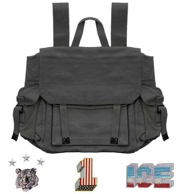 RUCKSACK : BLACK + 3 X PATCHES +/OR BADGE SETS