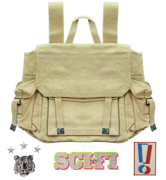 RUCKSACK : KHAKI + 3 x PATCHES +/OR BADGE SETS