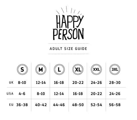 Happy Person Tee - Adult Size Guide