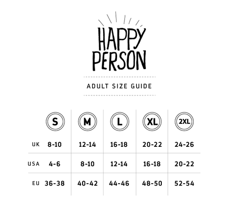 Happy Person T-shirt Size Guide