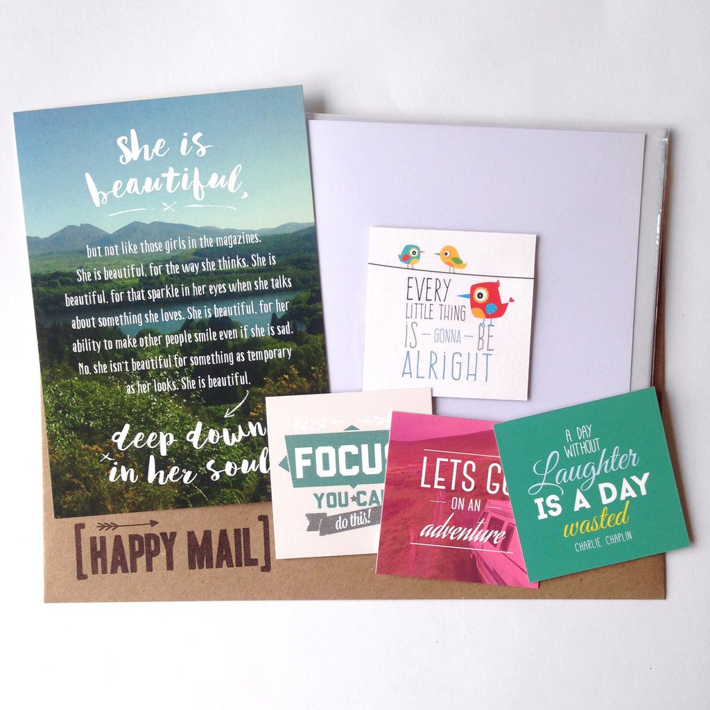 Happy Mail, Itty Bitty Book Co, Snail Mail, Subscription Box, Positive, Positivity, Quotes, Handmade