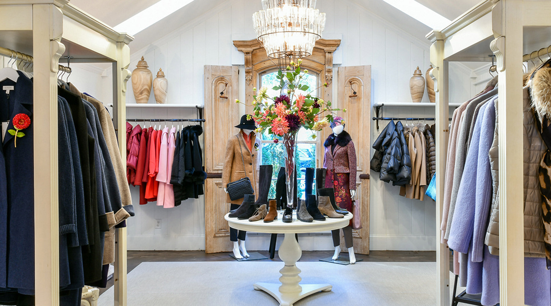Dovecote shop interior with clothes and accessories