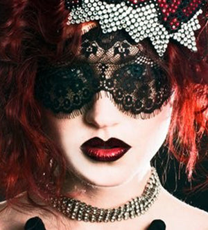 Lace mask Black eyelash lace veil