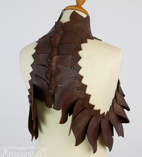 Dragon's spine brown leather vest