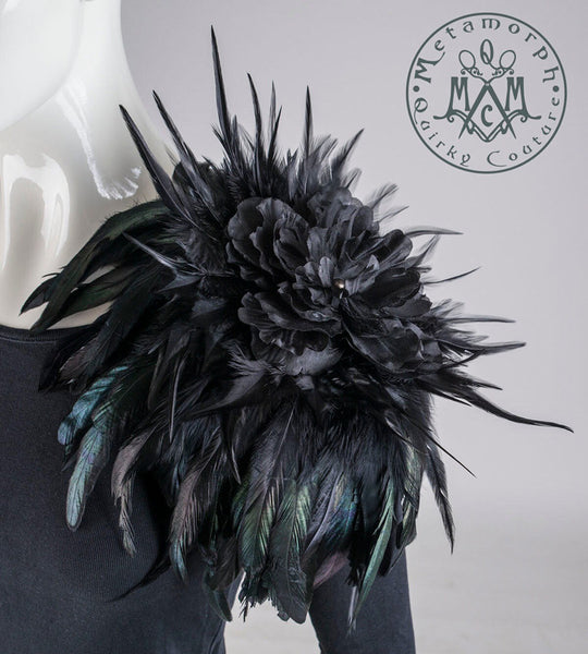 Shoulder corsage Feather flower epaulet
