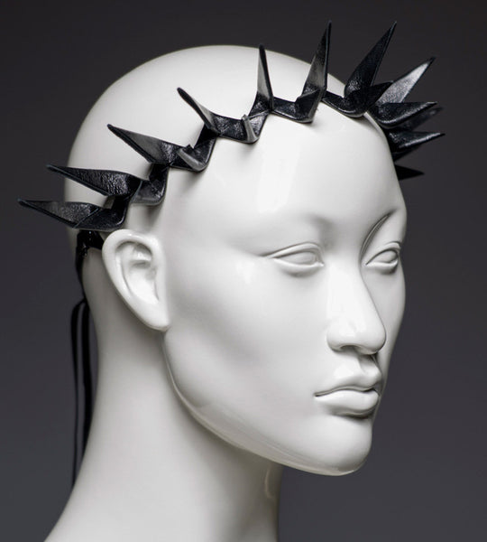 Black leather spike headband crown