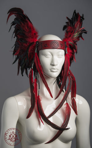 Red and black feather headdress custom made for Fia Kempe of The Great Discord