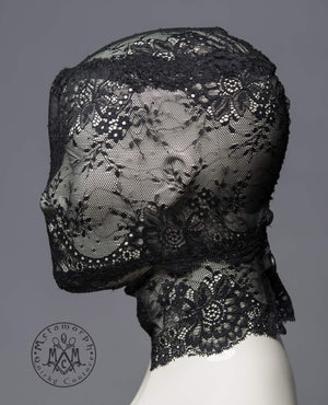 Black lace head mask / Full face lace mask / Pseudo blindfold lace hood / Fetish lace mask / Lace zentai mask / Masquerade lace veil / Bdsm