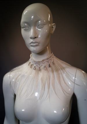 White fringe collar with yak ox hair, cowrie shells and lace / Tribal fringe necklace / Urban primitive fringe collar