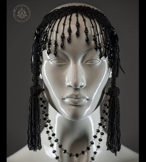 Beaded fringe jet black headdress with long beaded tassels