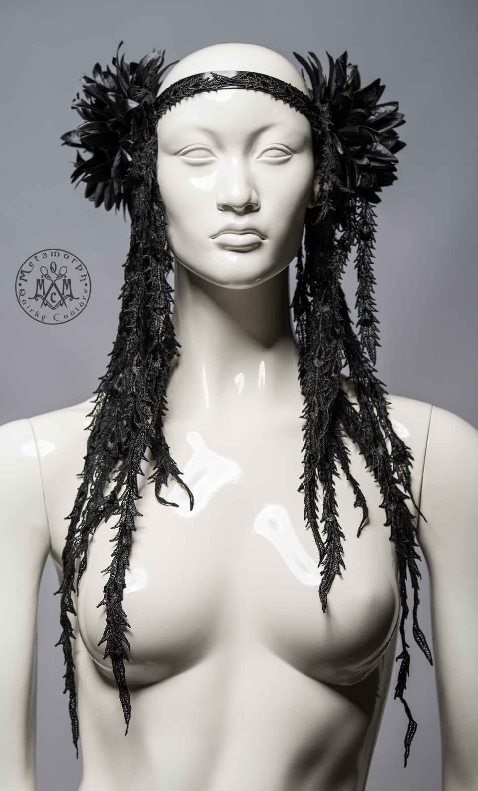 Black tribal fusion headdress / Flower and lace fringe headpiece / Leather headband with opulent black flowers / Gothic fusion headdress