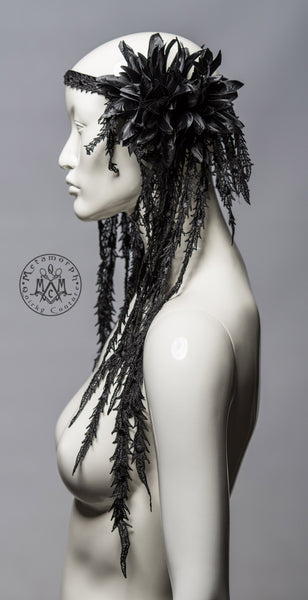 Black tribal headdress with flowers and long lace fringes