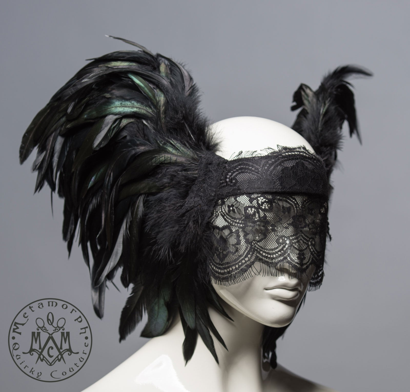 Feather wing headdress with lace veil / Black feather masquerade headdress / Wgt veiled headdress