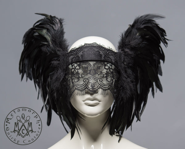 Black lace veil headdress with feathers