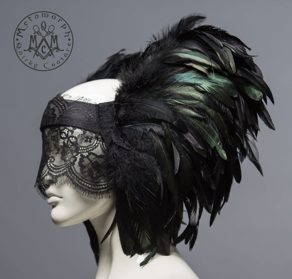 Black feather headdress with lace veil