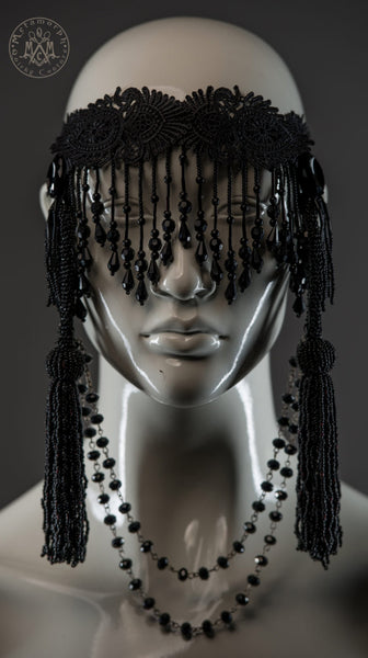 Beaded fringe black headdress with long beaded tassels