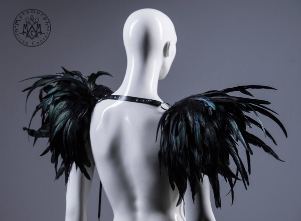 Huge black feather shoulder