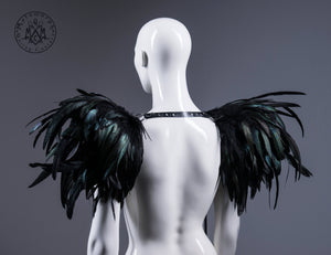 Huge black feather shoulder piece / Feather epaulet shrug / Feather harness with pointy shoulders
