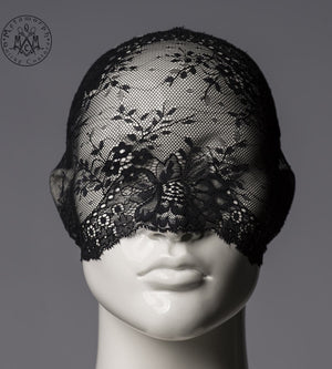Black lace mask / Elastic lace face mask / Pseudo blindfold / Masquerade lace veil