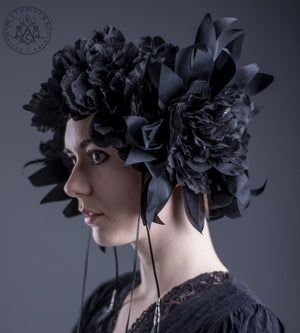 Black silk flower wreath / Oversized flower headdress