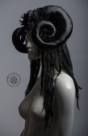 Black ram headdress / Horned goddess headdress with embroidered lace fringe and veil / WGT horn headdress