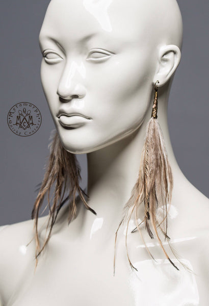 Emu feather tassel earrings / Shoulder duster statement fringe earrings