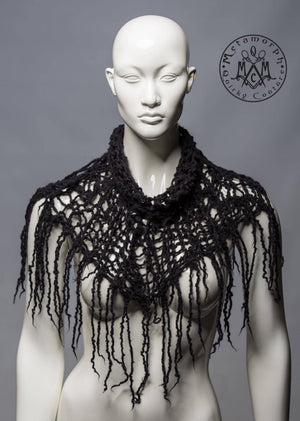 Black felted fringe cowl / Chunky distressed knit and felt fringe neck piece / Dark mori cowl