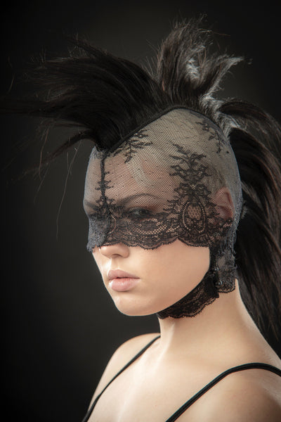 Mohawk headdress lace mask / Pseudo blindfold lace hood with real human hair / Fetish mask / Punk wig / Black pony play mane / Bdsm headgear