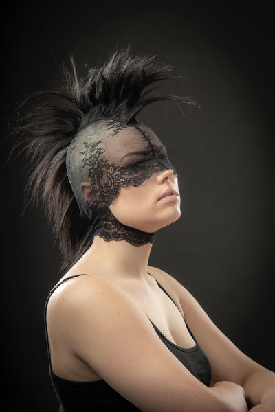 Mohawk headdress lace mask / Punk wig / Black pony play mane