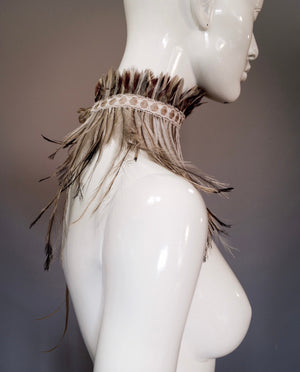 Emu feather choker / Brown, grey and black pheasant feather collar