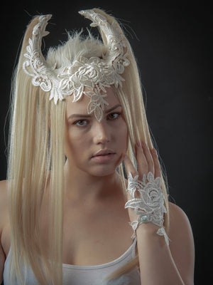 Blonde hair art wig / Wiccan horned headdress