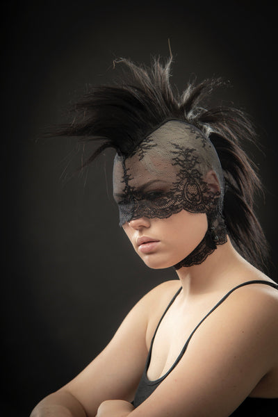 Mohawk headdress lace mask / Pseudo blindfold lace hood and real human hair / Fetish mask / Punk wig / Black pony play mane / Bdsm headgear