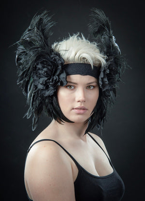 Ostrich feather headdress / Black feather flower flapper headdress