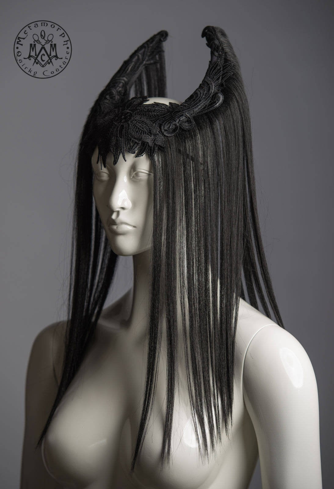 Black horn strega headdress / Vampire crown with hair and lace / Gothic art wig