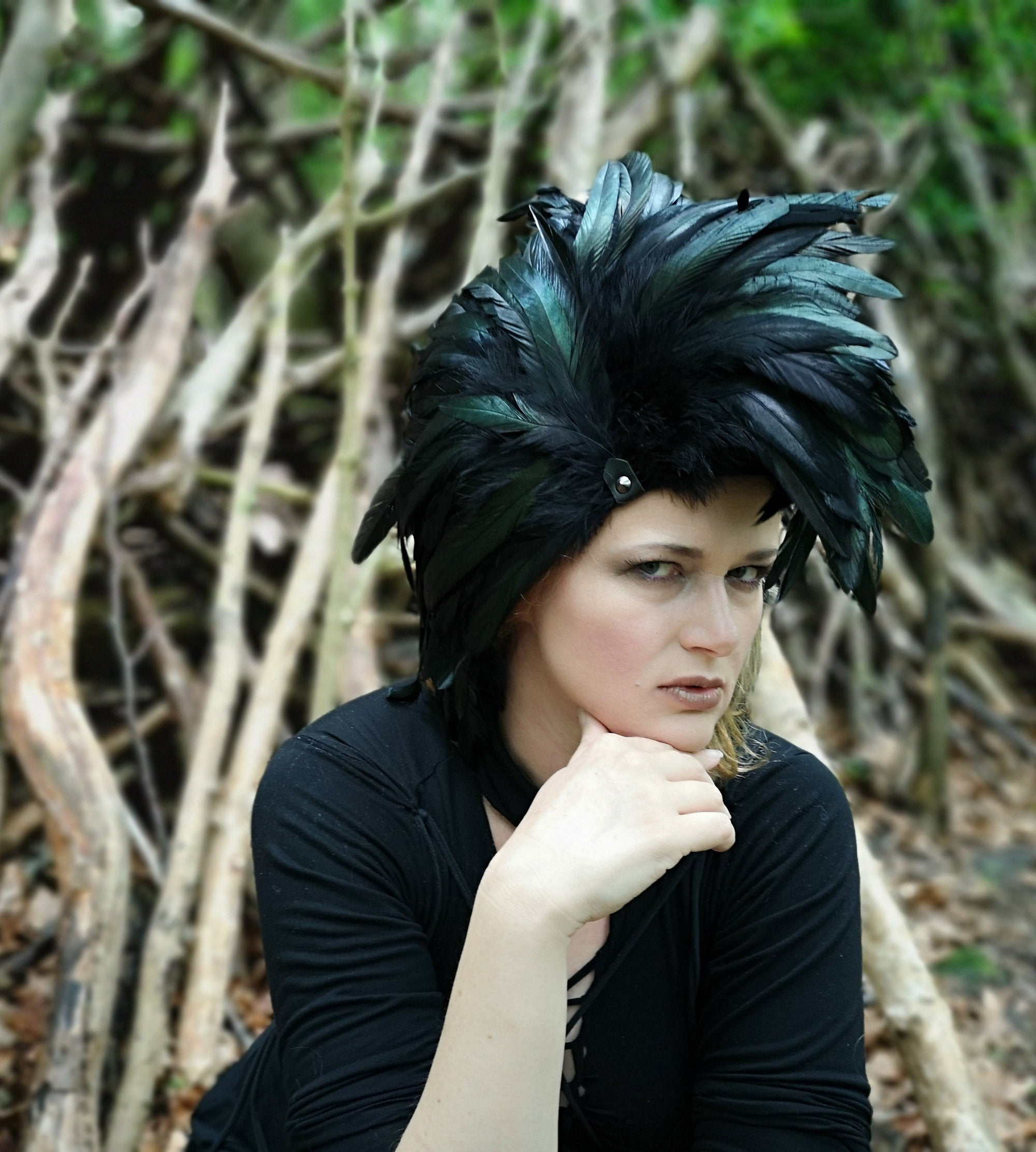 Punk headpiece / Feathered art wig