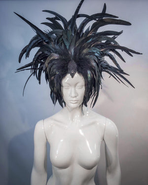 Black feather crown / Headpiece with rooster feathers / Medusa headdress / Feather turban / Burlesque headdress / Black mardi gras hat / Cher headdress