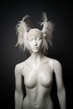 Off white ostrich rooster feather headdress / Alternative wedding headpiece