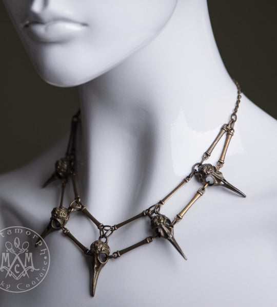 Bird skull spiky necklace