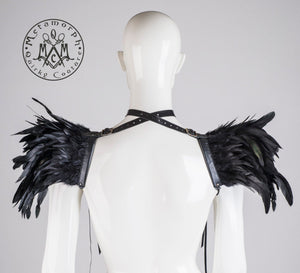 Black feather harness / Feather epaulets