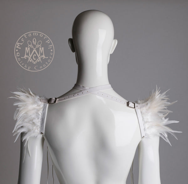 White feather shrug harness or collar