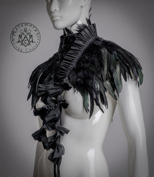 Steampunk black feather shrug, collar or peplum belt