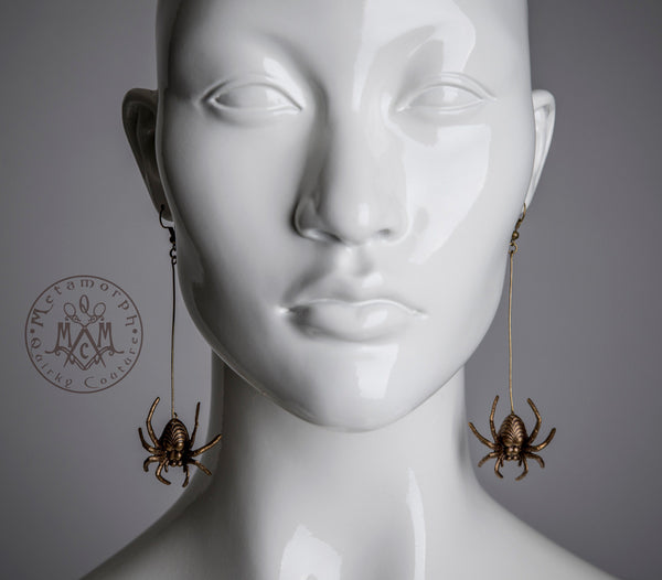 Spider earrings Antiqued brass dangle earrings