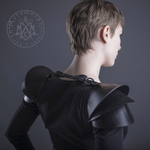 Recycled rubber Shoulder armor / 3D shoulder pads / Pauldron shoulder piece / Edgy sculptural eco fashion spaulders /  Wasteland shoulder pads