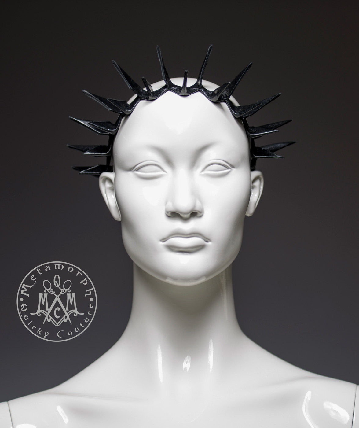 Black leather spike headband crown or spiky leather collar