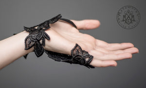 Black fingerless lace glove / Embroidered lace gothic glove / Tribal fusion glove