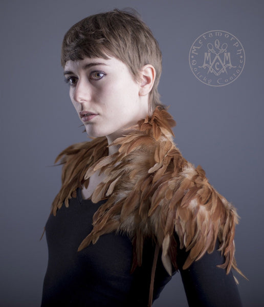 Tan feather Shoulder piece / Light brown feather shrug