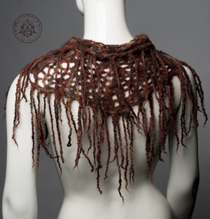Fringe cowl / Felted wool neck warmer / Loose distressed knit rusty red fringe capelet / Mori cowl